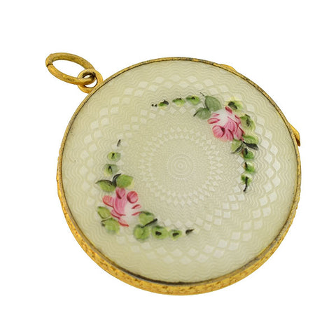 Art Deco Gold-Filled Floral Motif Guilloché Locket