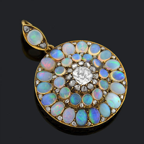 Victorian 14kt Opal & Diamond Cluster Pendant .70ct
