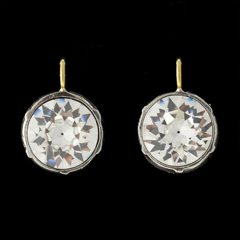 Victorian 14kt/Sterling & French Paste Earrings 5ct