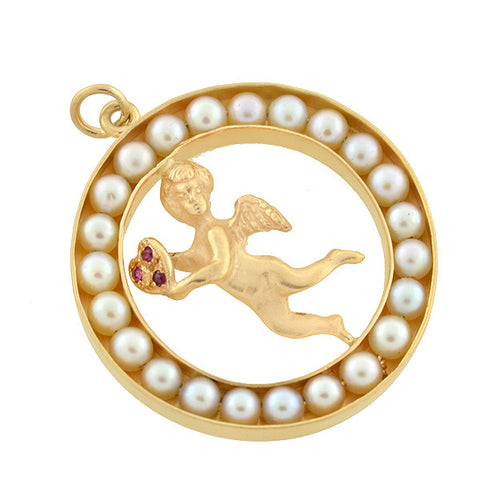 Vintage Large 14kt Pearl & Ruby Heart Cherub Pendant
