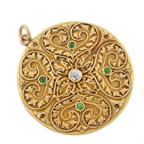 Victorian 14kt Demantoid Garnet & Diamond Locket
