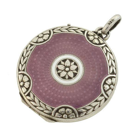 Art Deco Sterling Lavender Enamel Guilloché Floral Locket