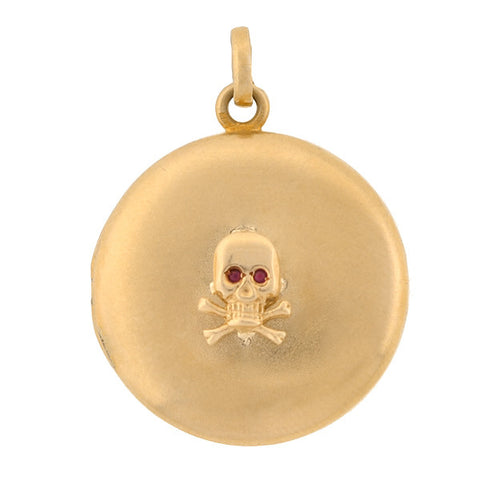 Victorian 10kt & Ruby Skull & Cross Bones Locket