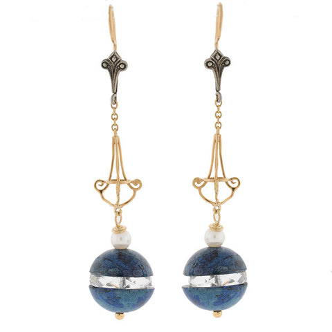 Art Deco 10kt & Silver, Sodalite, Crystal & Pearl Earrings