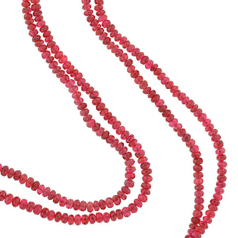 Estate 14kt Faceted Rubellite Bead 2-Strand Necklace