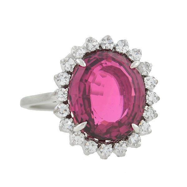 Estate 18kt Rubelite Diamond Cluster Ring 5ct