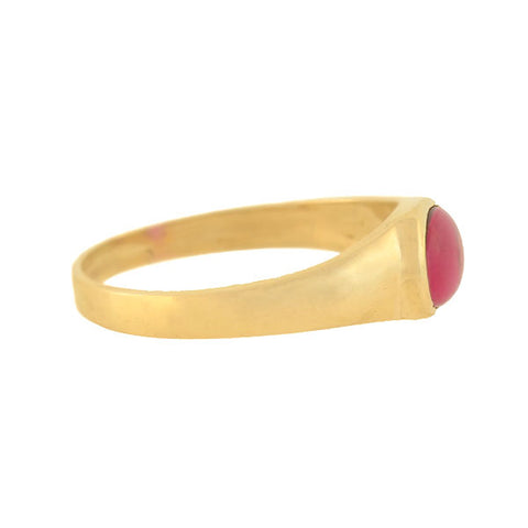 Vintage 14kt Gold Cabochon Ruby Band Ring 0.40ct