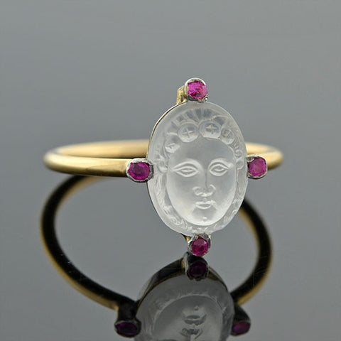 Art Nouveau 14kt Ruby & Carved Moonstone Cameo Ring