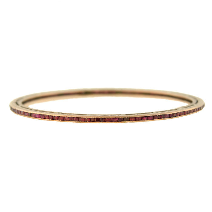 Art Deco 14kt Calibrated Ruby Slip-On Bangle Bracelet