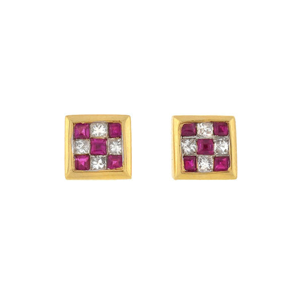 Estate 14kt Ruby & Diamond Checkerboard Stud Earrings