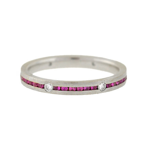 LEGACY Estate 18kt Pink Sapphire Diamond Eternity Band