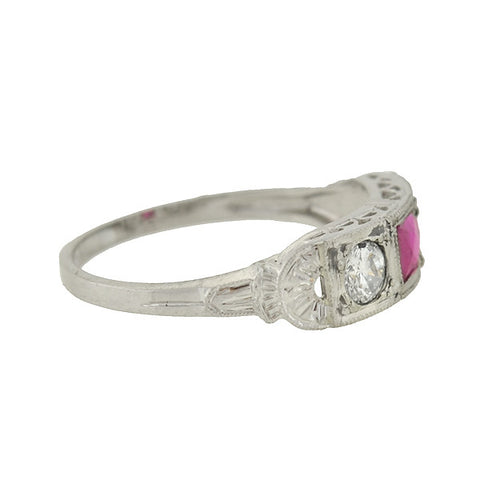 Art Deco 14kt French Cut Ruby & Diamond Ring