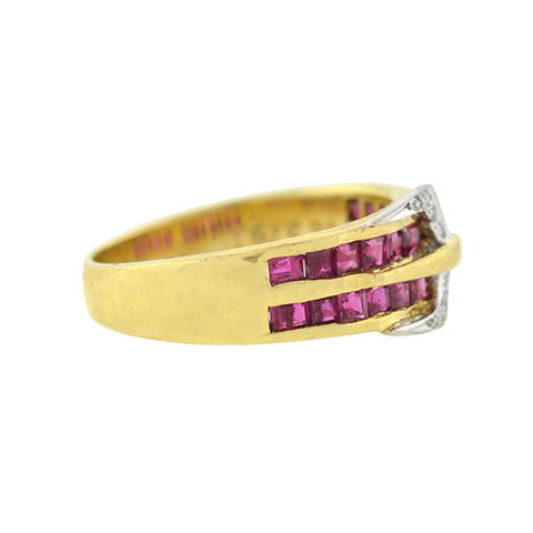 Estate 14kt Gold Ruby & Diamond Buckle Ring