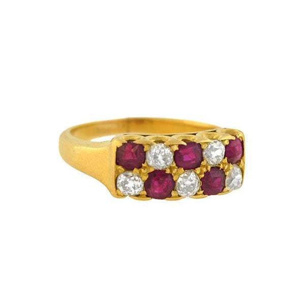 Retro 14kt Gold Alternating Ruby Diamond Ring
