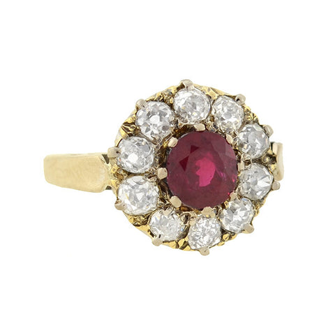 Victorian 18kt Ruby & Diamond Cluster Ring