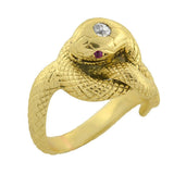 LARTER Art Deco 14kt Mine Cut Diamond & Ruby Snake Ring