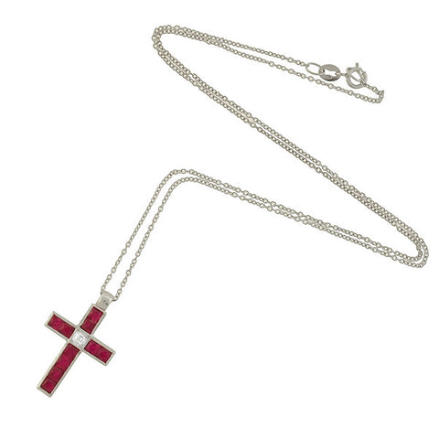 Vintage 18kt French Cut Ruby Diamond Cross Necklace