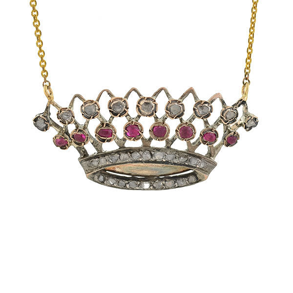 Victorian 14kt/Sterling Ruby & Rose Cut Diamond Crown Necklace