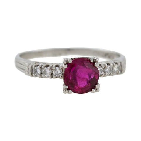 Vintage Platinum Ruby & Diamond Ring .75ct