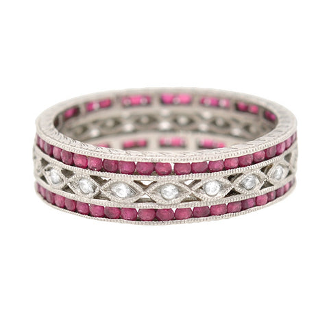 Estate Platinum Diamond & Ruby Eternity Band