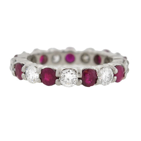 Estate Platinum Ruby & Diamond Eternity Band