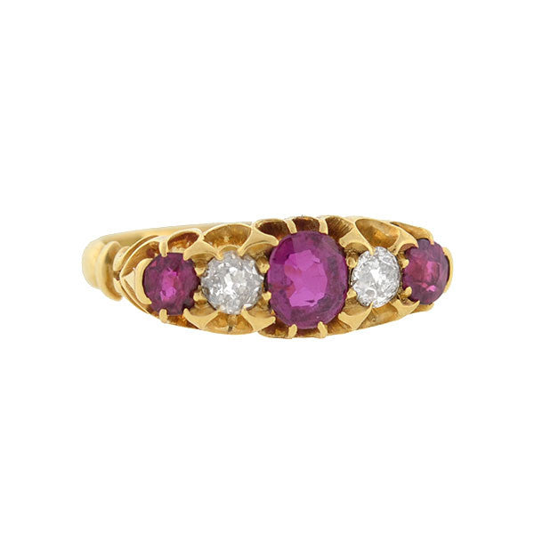 Edwardian 18kt Burmese Ruby & Diamond 5-Stone Ring