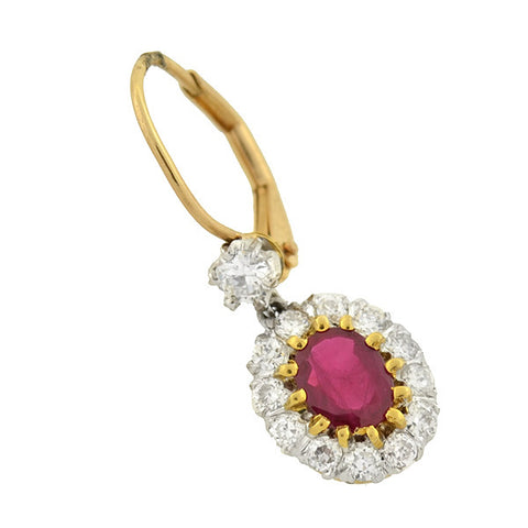 Estate 14kt Ruby & Diamond Cluster Earrings