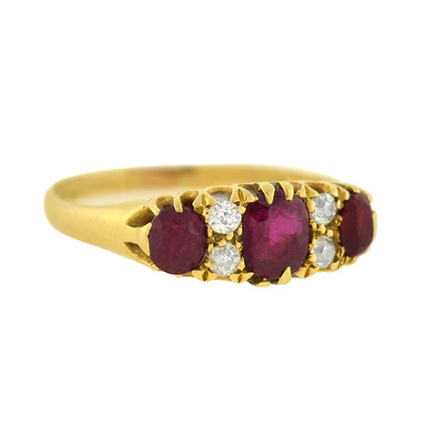 Late Victorian 18kt Ruby & Diamond Ring
