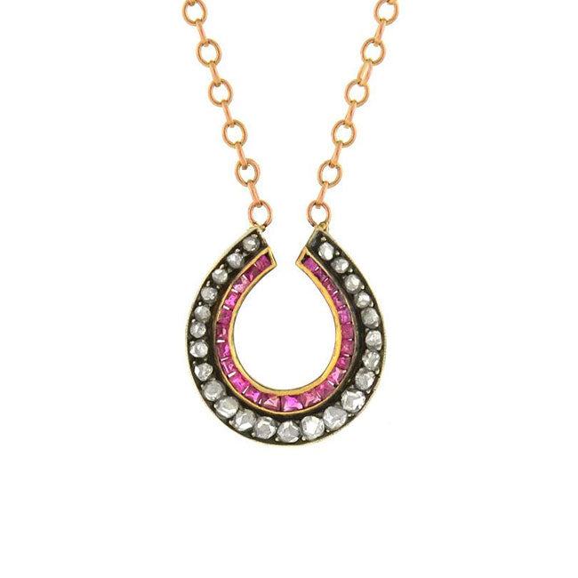 Victorian 18kt/Sterling Diamond & Ruby Horseshoe Necklace