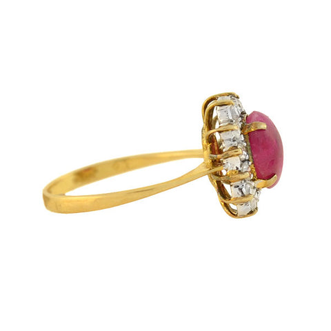 Late Art Deco 14kt 1ctw Ruby Cabochon Diamond Cluster Ring