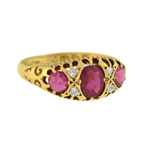 Art Nouveau English 18kt Burmese Ruby & Diamond Ring 1.15ctw