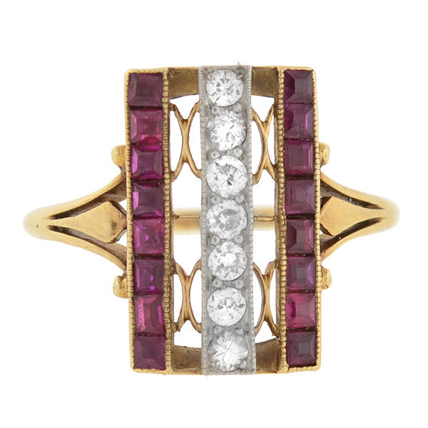 Edwardian 14kt & Platinum Diamond & Ruby Ring