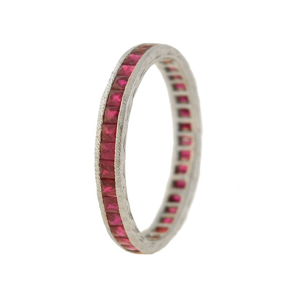 Vintage 18kt White Gold + French Cut Ruby Eternity Band