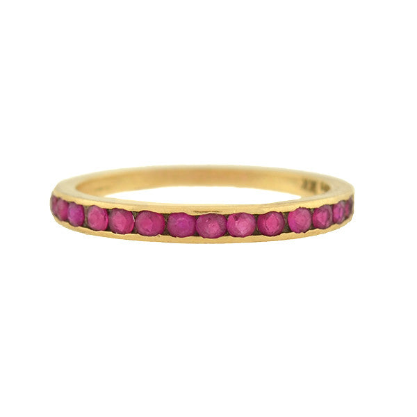 Retro 14kt Ruby Half Band .42ctw