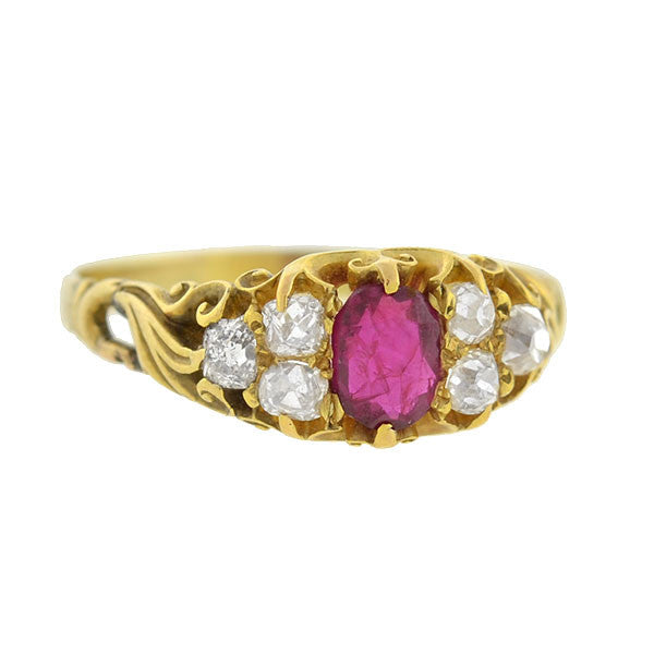Victorian 18kt Ruby Mine Cut Diamond Ring