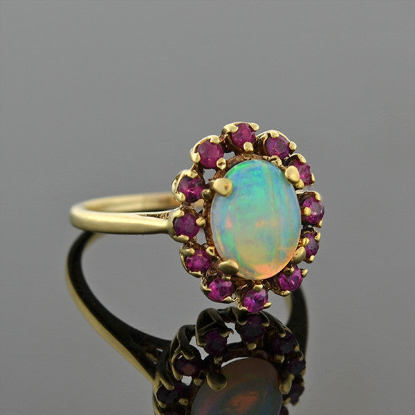 Retro 14kt Opal & Ruby Halo Ring