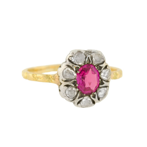 Victorian 15kt/Sterling Burmese Ruby & Diamond Cluster Ring