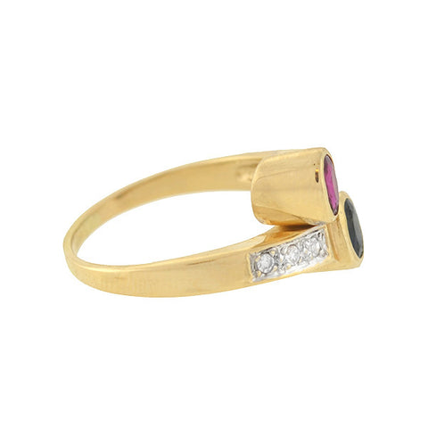 Estate 14kt Ruby & Sapphire & Diamond Bypass Ring