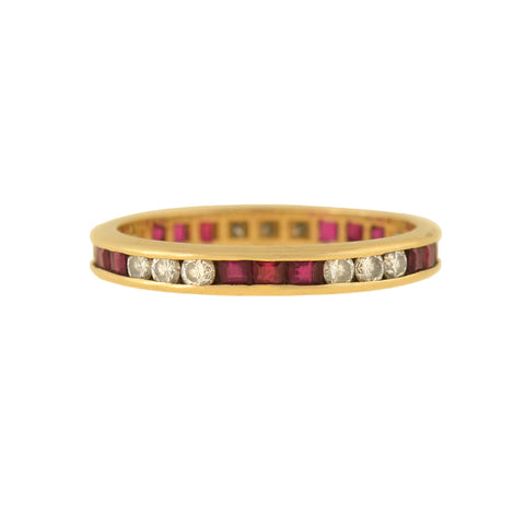 Vintage 14kt Ruby and Diamond Eternity Band