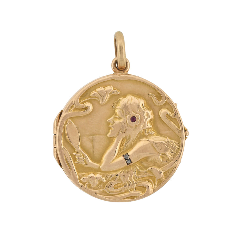 Victorian Sterling & Applied Gold Cupid Locket