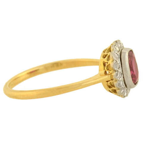 Edwardian 14kt/18kt Natural Ruby + Diamond Ring 0.85ct center