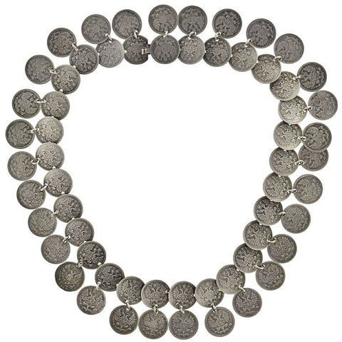 "Victorian Silver Russian ""5 Kopek"" Coin Necklace"