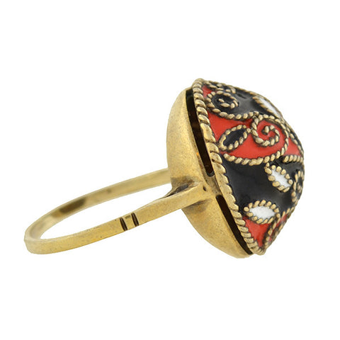 Art Deco Russian Silver & Enamel Dome Ring