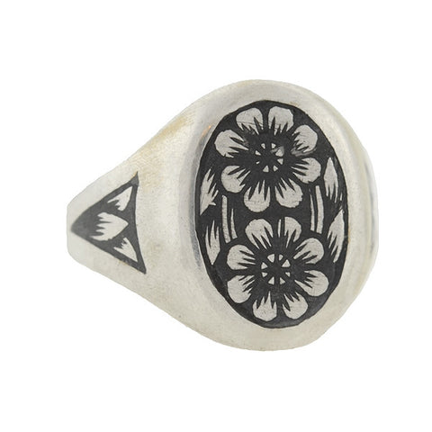 "Vintage Russian ""Tula Silver"" Niello Flower Ring"