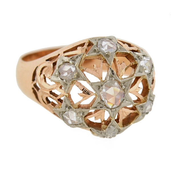 Victorian Russian 14kt Rose Cut Diamond Star Ring