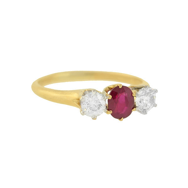 S. KIND & SONS Victorian 18kt Ruby & Diamond Ring
