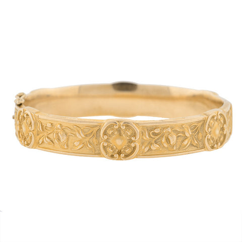 Art Nouveau 14kt Repousse Bangle Bracelet, Newark Maker