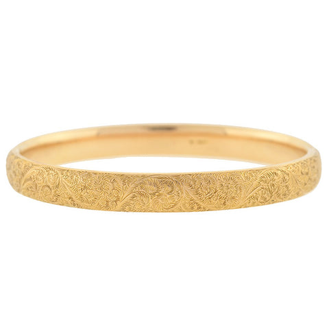 SLOAN & CO. Victorian 14kt Gold Etched Hinged Bangle Bracelet