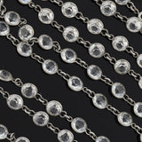 Art Deco Long Silver-Plated Crystal Chain Necklace 58