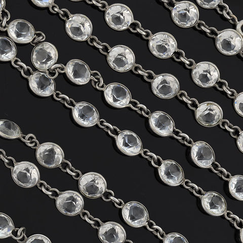 Art Deco Long Silver-Plated Crystal Chain Necklace 58""
